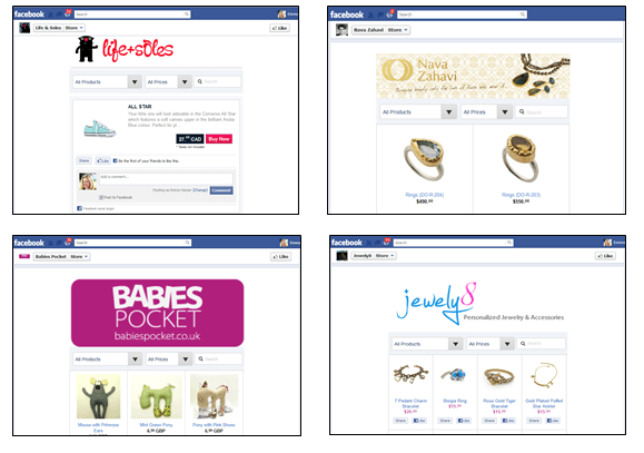 Facebook store layouts