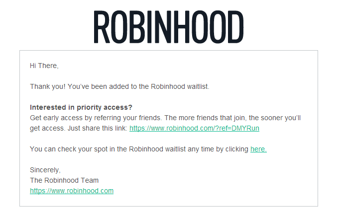 Robinhood Confirmation Email