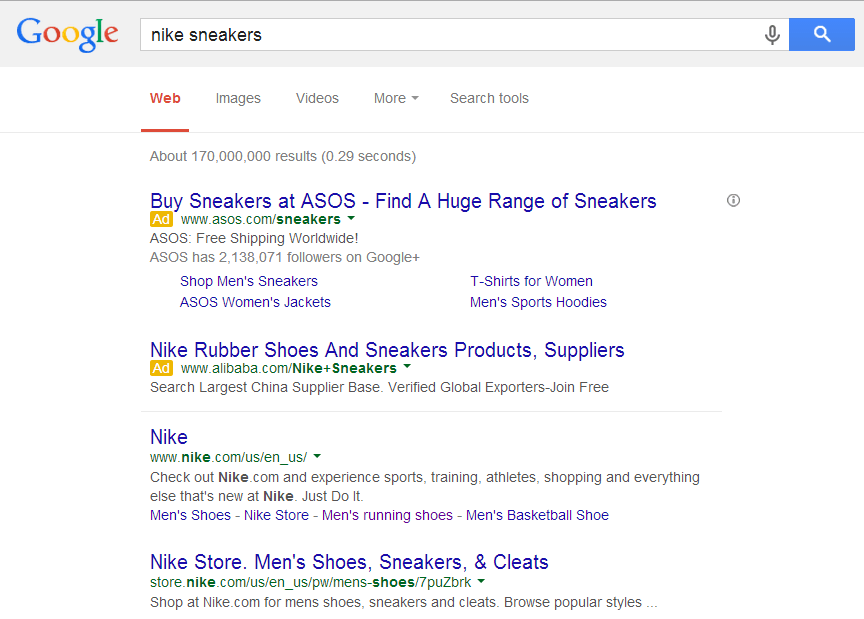 Adwords ad on Google