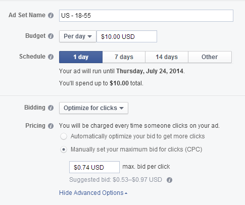 estimating cost of facebook ads