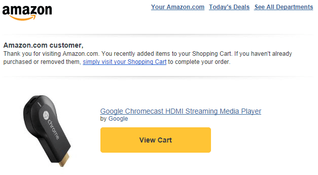 Amazon shopping cart abandonment email