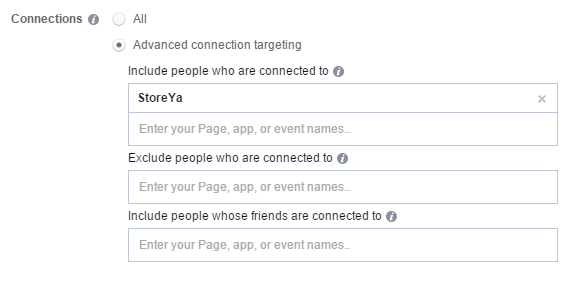 advanced connections targeting facebook ad