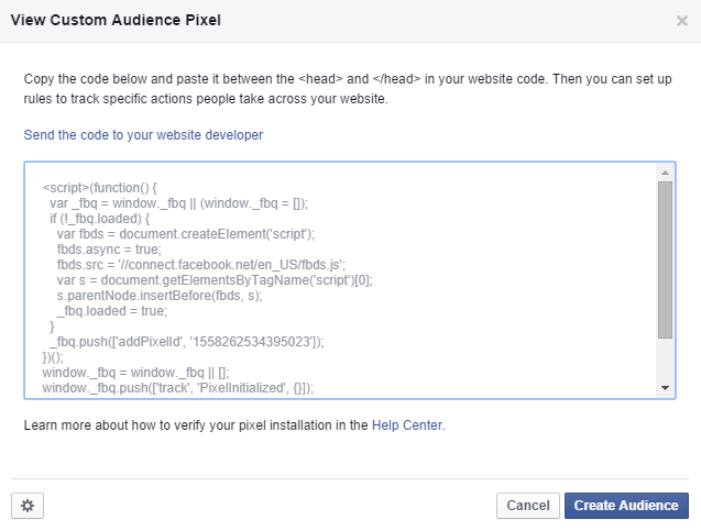 custom audience web pixel facebook ad