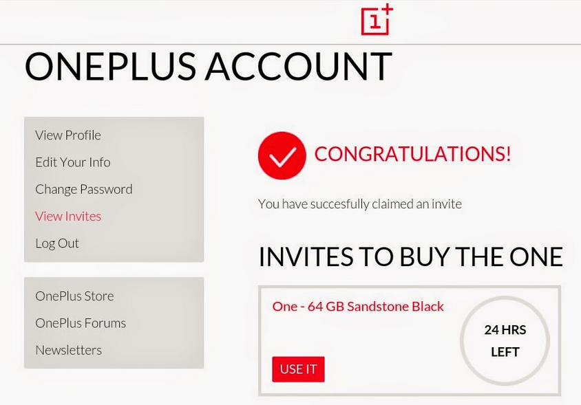 oneplus one account page