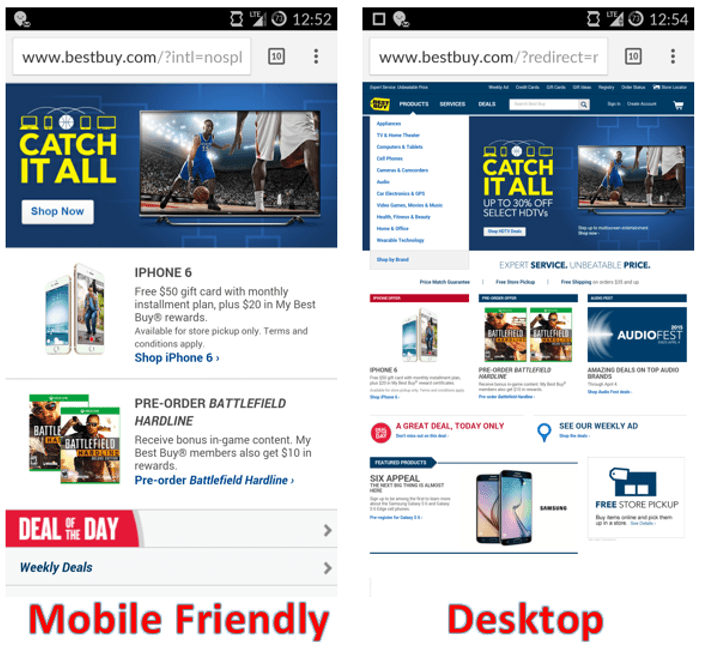 mobile vs non mobile websites