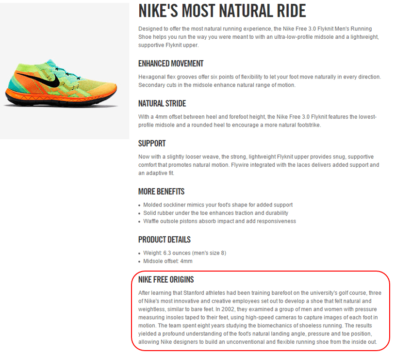 nike shoes product description examples 942695