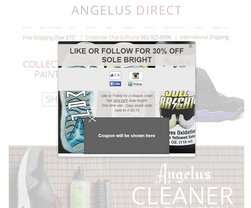 angelus direct coupon pop