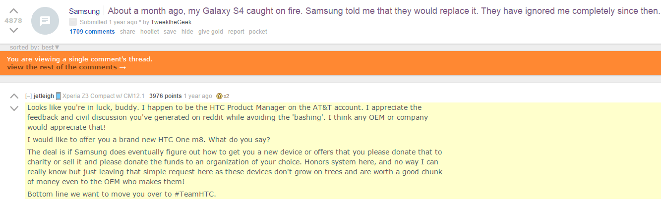 HTC employee winning at Reddit