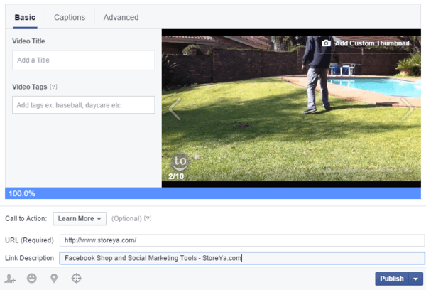 Adding video and call to action to Facebook