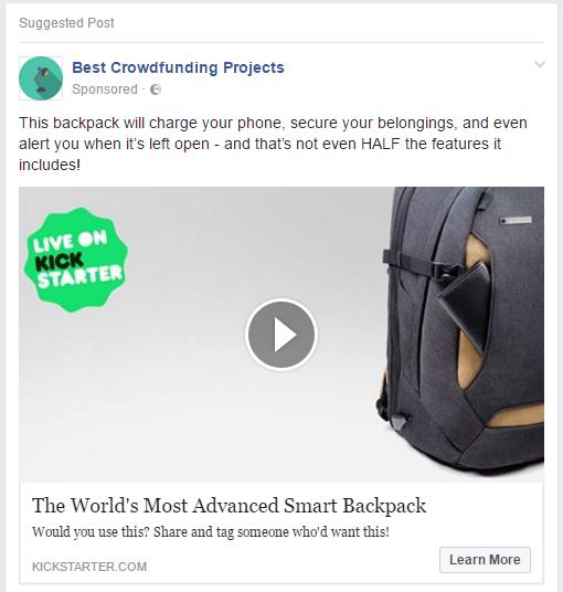 Facebook ad options