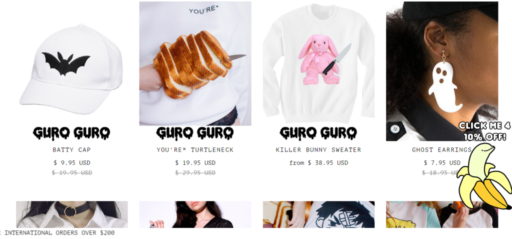 example of best eCommerce practices with Guro Guro online store
