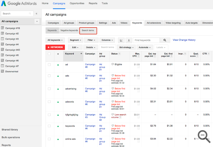 Search Query Report in AdWords