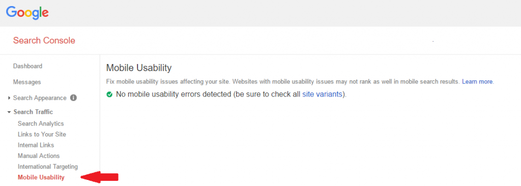 Google's Search Console Screenshot