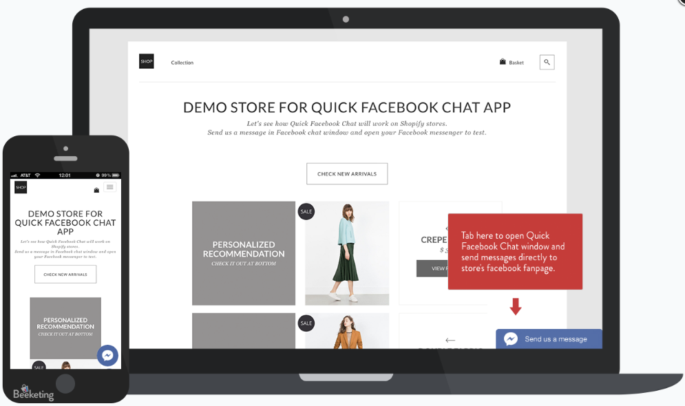 Facebook Chat App for eCommerce