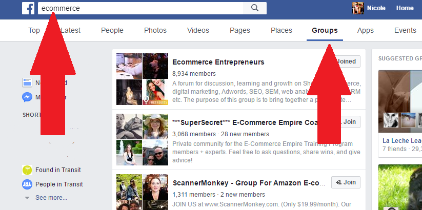 Facebook Search for Groups