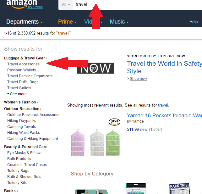 Use amazon to search niche trends