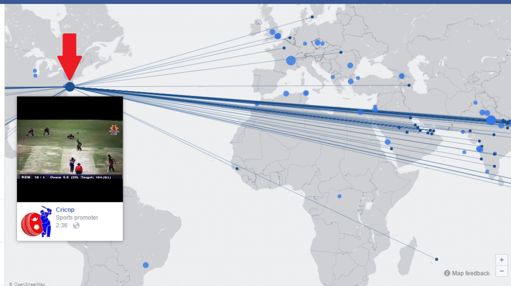 Facebook map of all live streams
