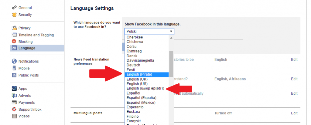 Facebook Language Options