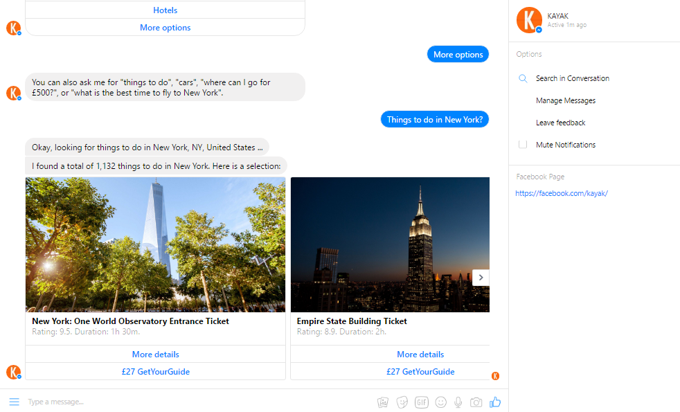 Kayak Facebook Chatbot