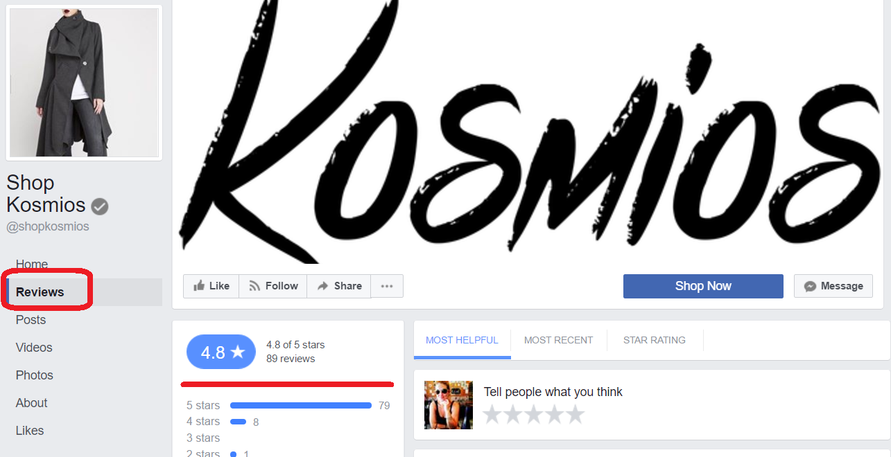 eCommerce using FB reviews