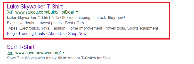 example of ecommerce search ads