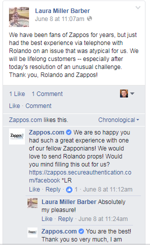 Example of good ecommerce customer service on Facebook