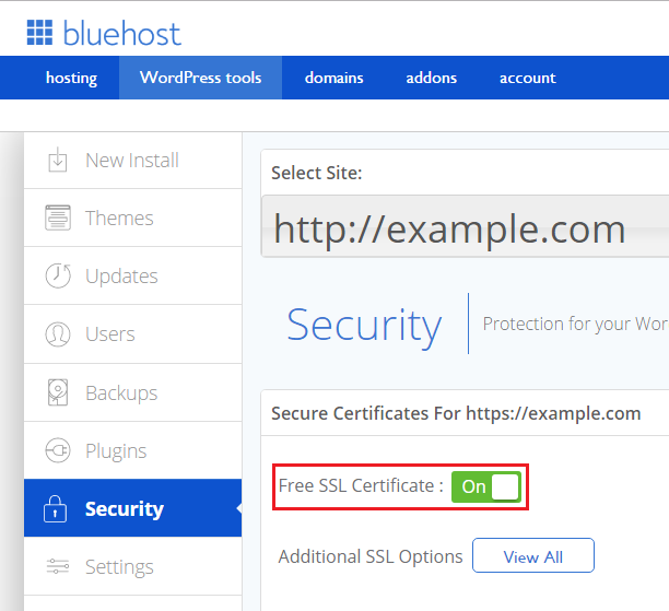 Bluehost SSL activation