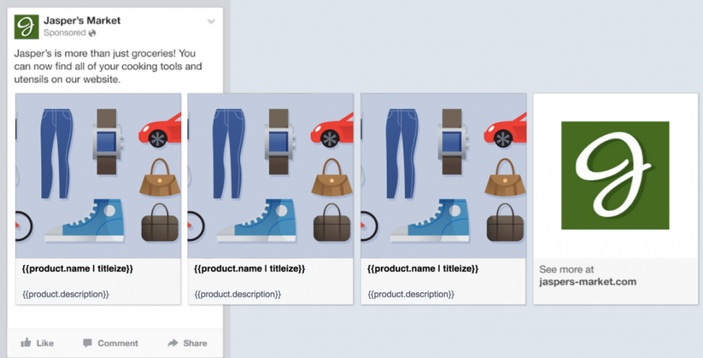 Facebook dynamic product carousel ads