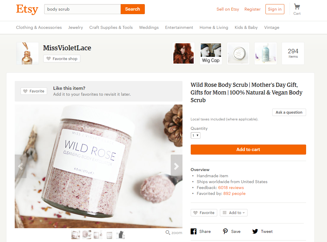 body scrub stores on Etsy