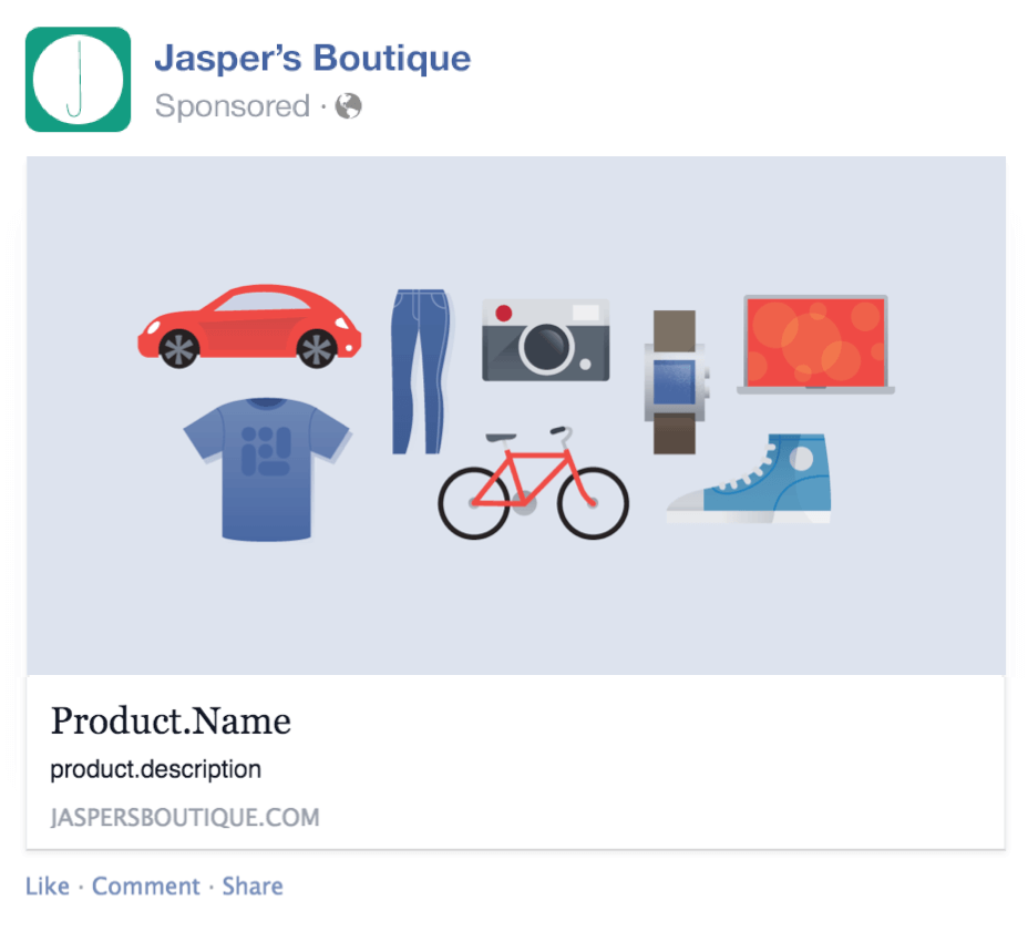 Facebook Dynamic product ad templates