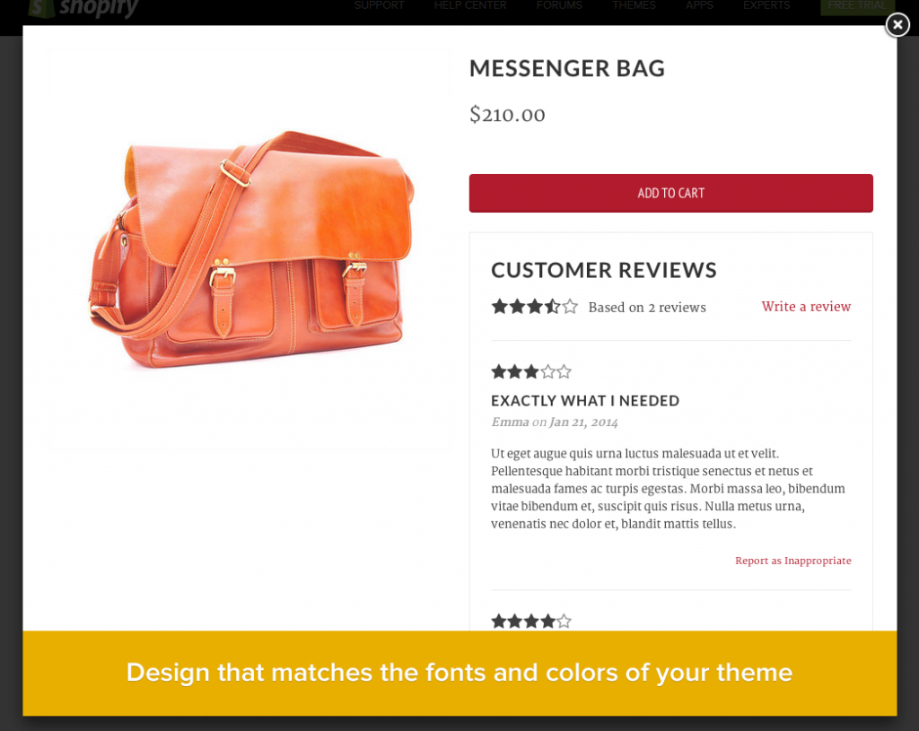 how to put customer reviews on product pages for shopify