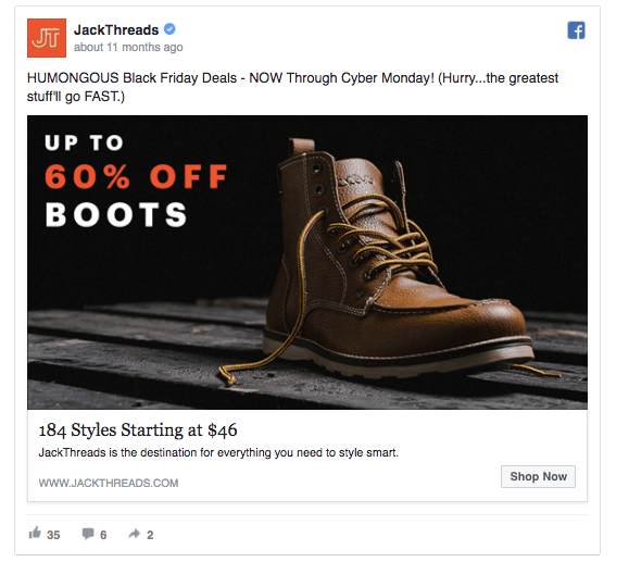 example of good ecommerce Christmas facebook ads