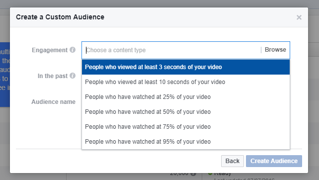 facebook custom audience options