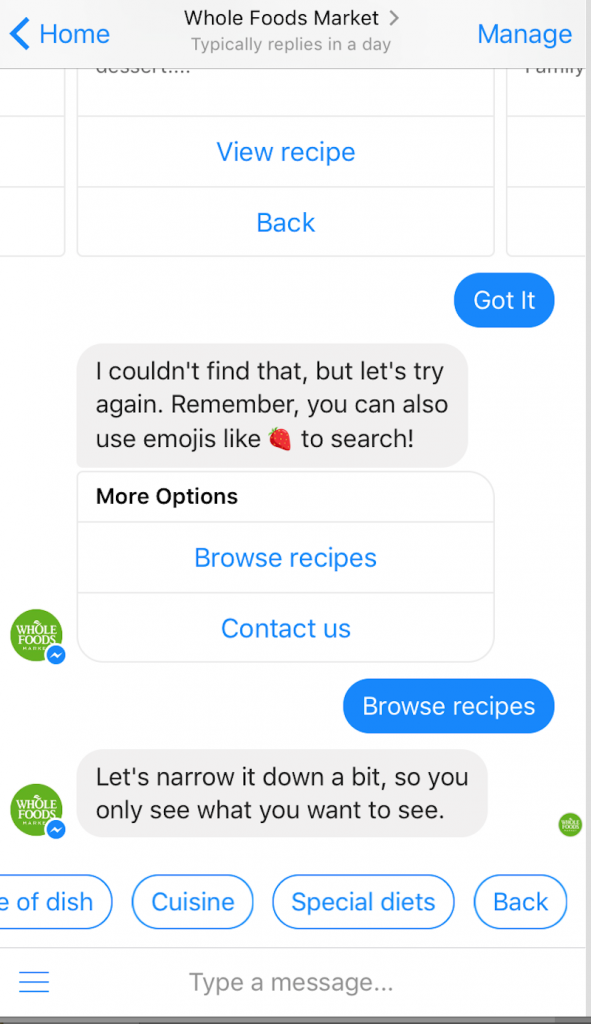 Facebook chatbot for ecommerce