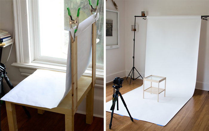setting up product shoot at home