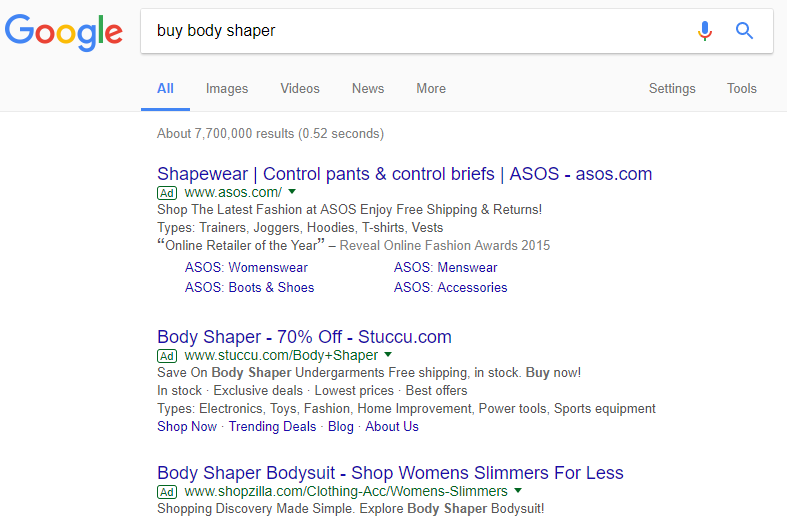Body Shaper stores on AdWords