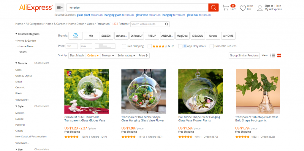 Terrarium for sale on Aliexpress