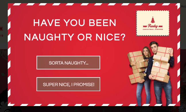 eCommerce christams site popups