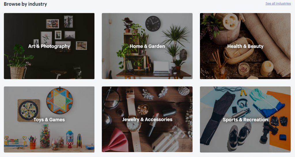 Shopify theme store industry themes