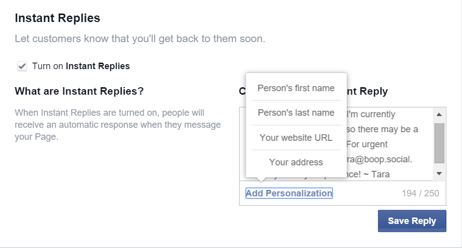 Facebook instant reply bots