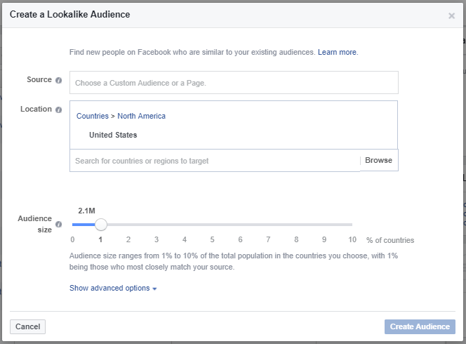 how to create Facebook custom audeince lookalike's