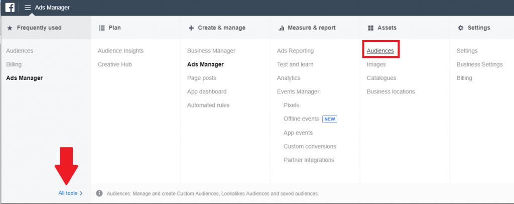 how to create custom audiences on FB