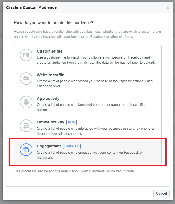 how to create facebook custom audience
