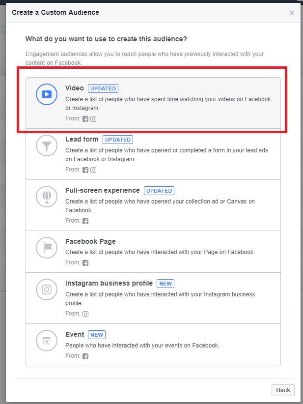 creating custom audiences from Facebook video views