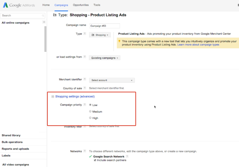 priority selection for Google Shopping Campaigns