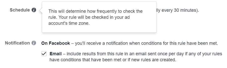 Facebook automation Scheduling and Notification Options