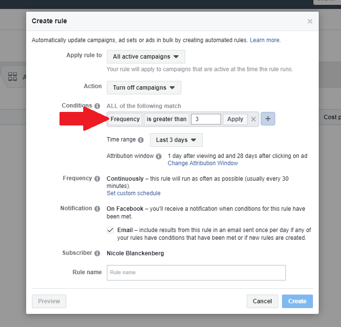 Facebook automated rules for frequency
