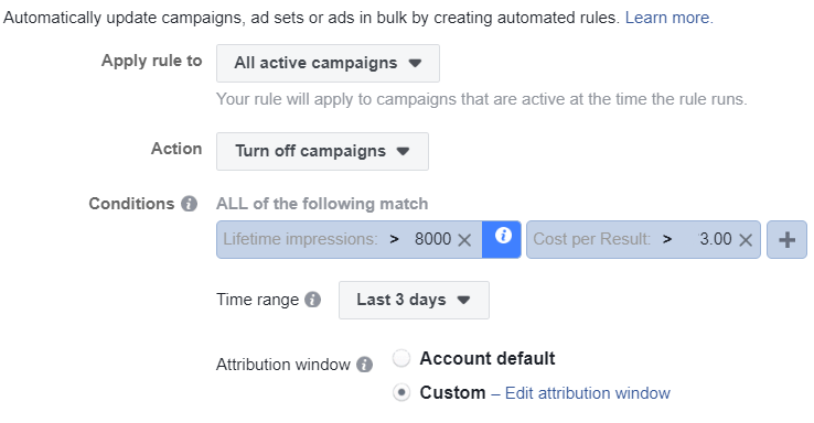 turn off campaigns using facebook automated rules