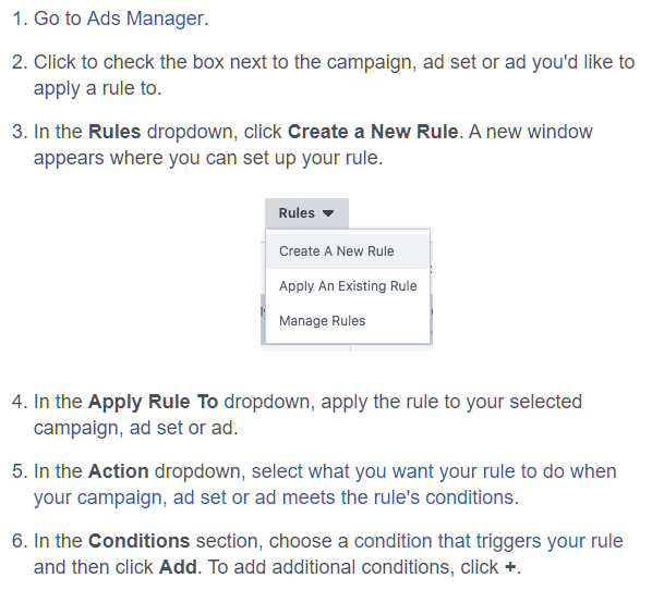 how to create a Facebook rule
