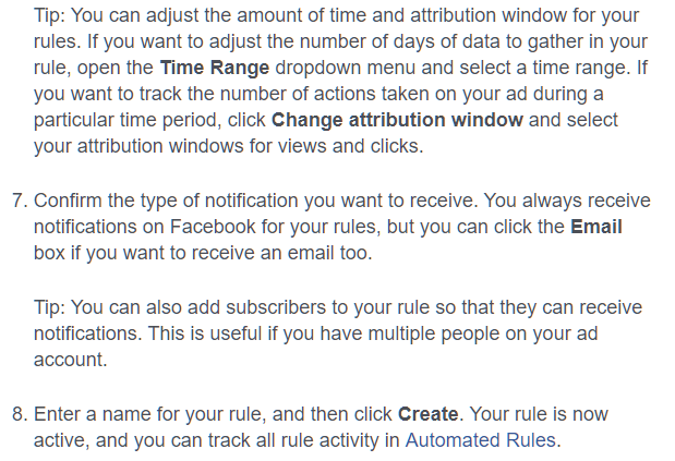 best way to create facebook rules